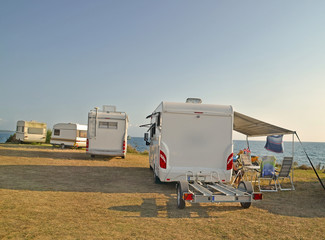sea in the summer - caravans - modern and trailers