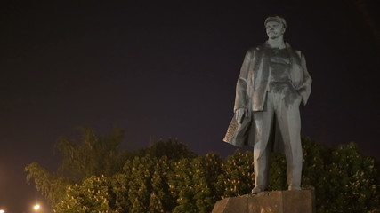 Monument of Vladimir Lenin at Night