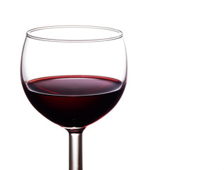 Glass of full bodied, rich, dark red wine isolated on white