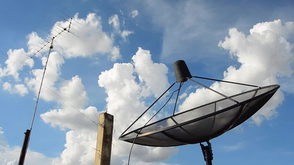 Satellite dish with the movement of cloud,  HD