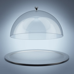 Silver tray with glass cover