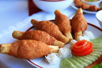Sugar cane skewered fried minced shrimps
