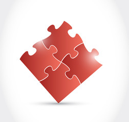 red puzzle pieces illustration design
