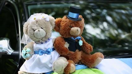Bears on a Wedding Car