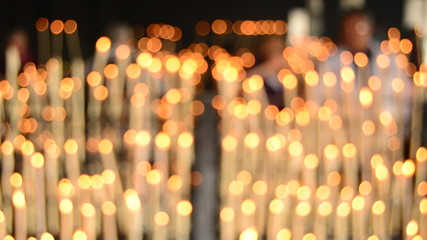 Candles at candlestick blurred