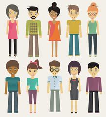 trendy cartoon casual characters set