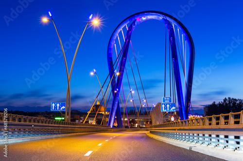 Fototapety, obrazy : Cable stayed bridge in Bydgoszcz at night, Poland
