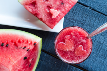 juice,smoothie in a glass of watermelon, top view