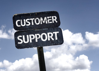 Customer Support sign with clouds and sky background