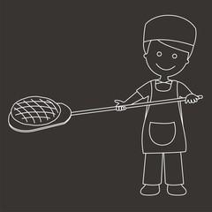 Panadero sacando el pan del horno líneas fondo oscuro