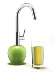 apple  with water tap