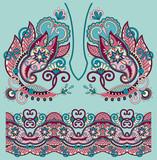 Neckline ornate floral paisley embroidery fashion design, ukrain poster