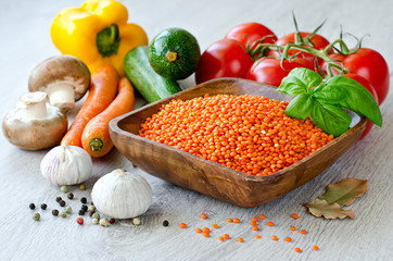 Red lentil and different vegetables ready for cooking