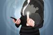 Businesswoman Pressing Button On Touchscreen Interface