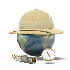 Pith helmet on earth globe. map provided by NASA