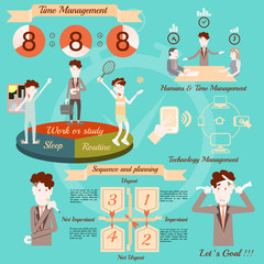 Time management, infographics vector design.