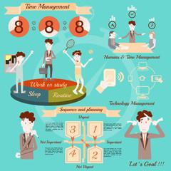 Time management, infographics vector design.