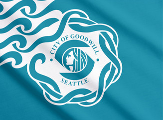 Waving flag of Seattle