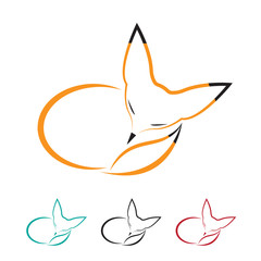 Vector image of orange fox sleeping.