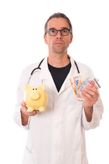young doctor with piggy bank and euros