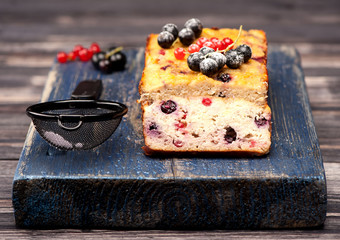 Homemade Cake with berries currants. Gluten free. Paleo Diet