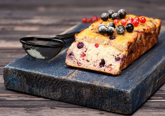 Cake with berries. Paleo diet. Gluten free.