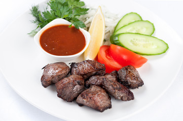 Grilled meat Skewers and vegetables