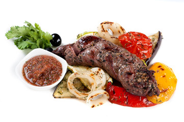 Grilled meat and grilled vegetables
