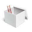 white opened box with red ladder - 68580687
