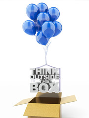 Think outside the box with blue balloons