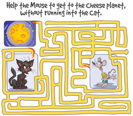 Funny Labyrinth Game with Mouse, Cheese planet and Cat.