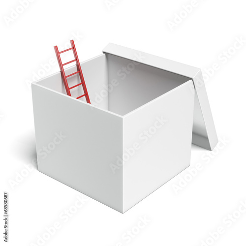 white opened box with red ladder