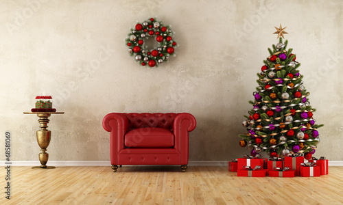 canvas print picture Elagant room with xmas decoration