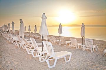 Beautiful beach at sunset in Greece.