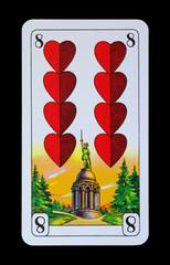 Spielkarten Denkmäler - Herz Acht - Hermanns Denkmal