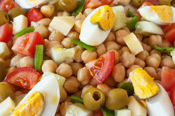 Top view of a chickpea salad