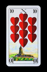 Spielkarten und Denkmäler - Herz Zehn - Kyffhäuser Denkmal