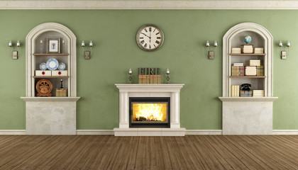 Vintage room with niche and fireplace