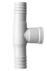 Isolated white T pvc pipe fittings