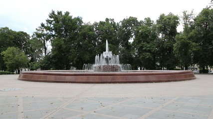 Fountain in a city park, the center of Moscow near the Kremlin