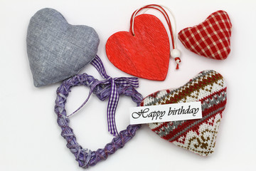 Happy birthday card with selection of colorful hearts