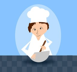 Cook with blue background