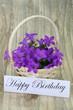 Happy birthday card with campanula flower basket