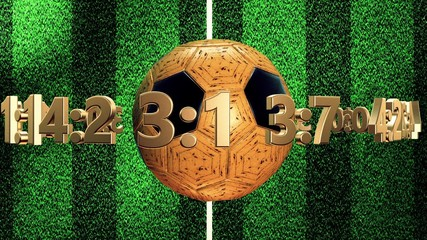 Soccer ball with numbers and dollar signs