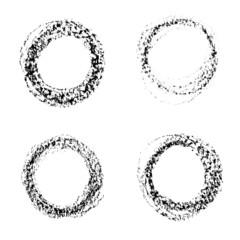 Set of vector round grunge frames. Hand drawn design elements.