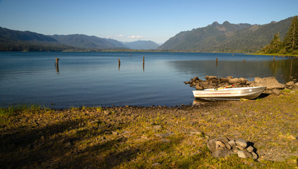 Row Boat Shoreline Lake Quinault Olympic National Forest