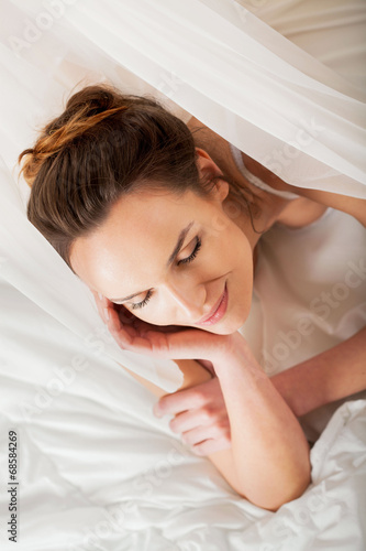 canvas print picture Sexy lady in bed