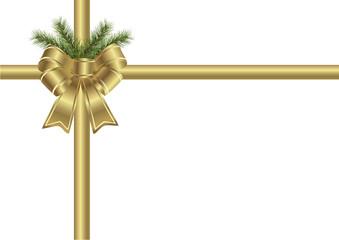 Geschenkschleife gold mit Tannenzweig