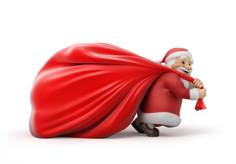 Santa Claus with a heavy bag of gifts