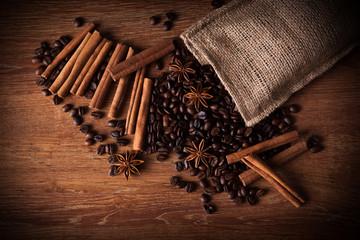 roasted coffee and cinnamon sticks